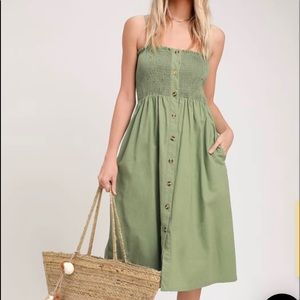 Made To Love Sage Green Smocked Button-Front Midi